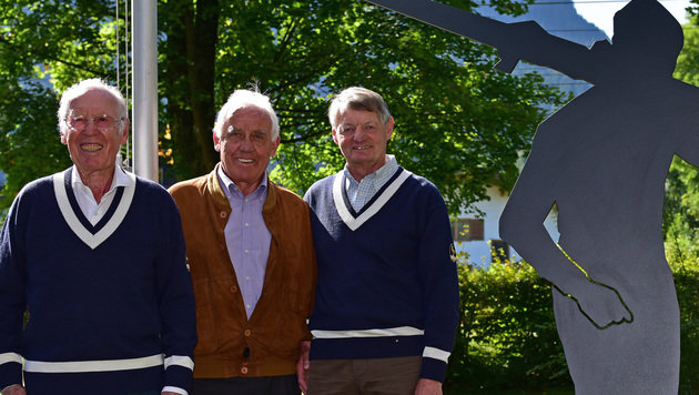 Hias Leitner (rechts) mit Ernst Hinterseer (Mitte) und Fritz Huber (Bild: GEPA pictures)