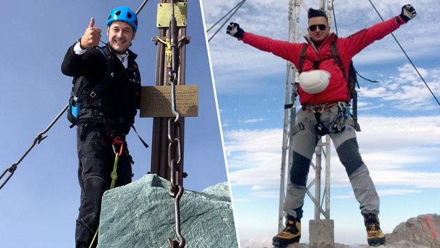Andreas Gabaliers Gipfelsieg im Strache-Style (Bild: hcstrache.at, Walter Walcher Bergführer Ramsau am Dachstein)