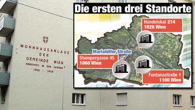 Die ersten drei Standorte der neuen Wiener Gemeindebauten (Bild: Andi Schiel, Krone-Grafik)