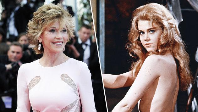 """Jane Fonda heute (l.) und einst als sexy """"Barbarella"""" (r.) (Bild: AFP, Viennareport)"""