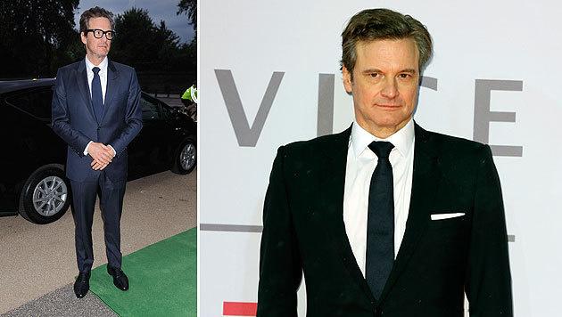 Colin Firth wirkt im Vergleich zum Foto rechts vom Februar 2015 sichtlich mager. (Bild: Viennareport)