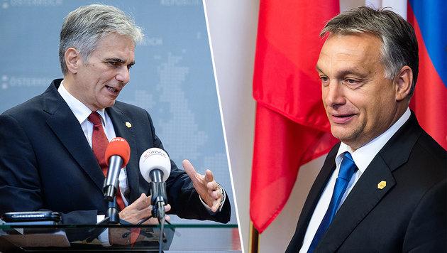 """Orban zu Faymann: """"Können die Grenze auch öffnen"""" (Bild: APA/EPA/STEPHANIE LECOCQ, AP)"""