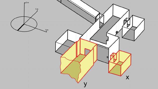 Die zwei von Nicholas Reeves vermuteten Kammern (x und y) (Bild: © Theban Mapping Project)