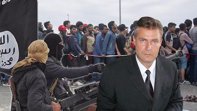 """Dutzende IS-Terroristen im Fl�chtlingsstrom"" (Bild: facebook.com, APA/ERWIN SCHERIAU, CHRISTOPH MATZL)"