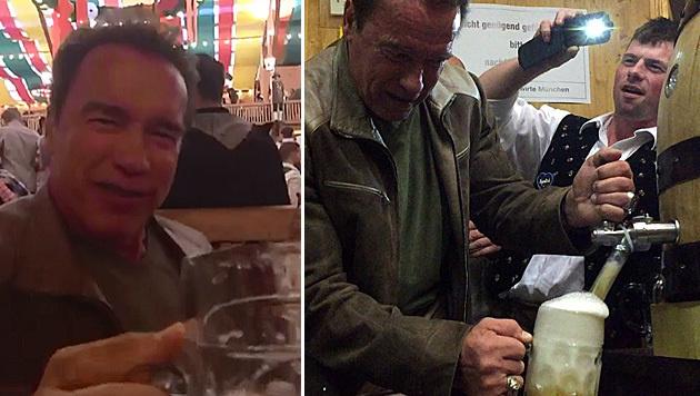 Arnold Schwarzenegger feiert auf dem Oktoberfest. (Bild: twitter.com/arnold, instagram.com/schwarzenegger)