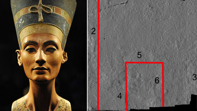 An der Wand (rechts) vermutet Forscher Reeves vermauerte Durchgänge. (Bild: EPA, Factum arte/Ministry of State for Antiquites and Heritage)