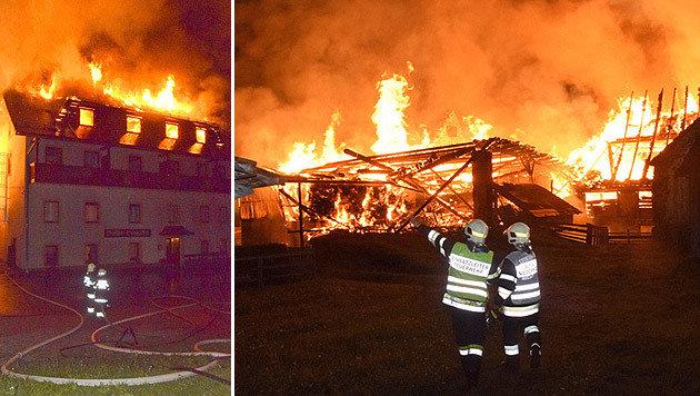 Einsatzkräfte der Feuerwehr am Brandort (Bild: APA/BFV MURAU/HORN)