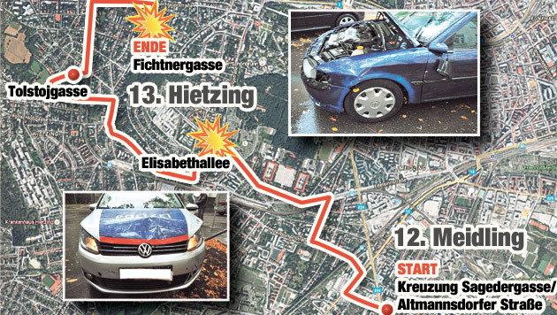 Die Fluchtroute der beiden Rumänen (Bild: Krone Grafik, LPD Wien)