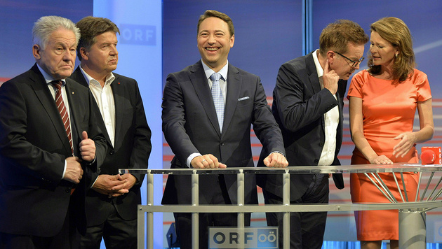 Josef Pühringer, Reinhold Entholzer, Manfred Haimbuchner, Rudi Anschober, Judith Raab (Bild: APA/Herbert Neubauer)