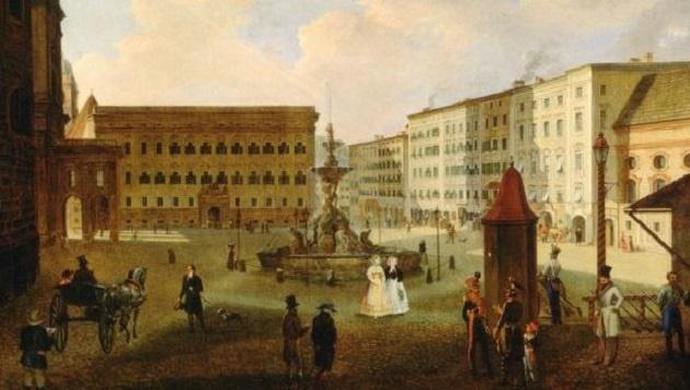 Historisches Gemälde: Der Residenzplatz in Salzburg, Öl auf Leinwand von J.M. Sattler (Bild: SMCA)