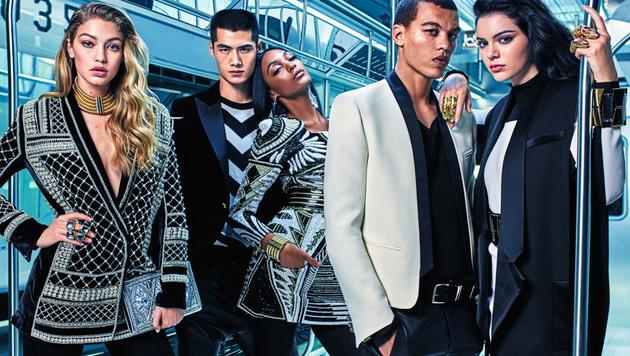 Für die neue Balmain-Kampagne konnte H&M Gigi Hadid, Jourdan Dunn und Kendall Jenner gewinnen. (Bild: H&M)