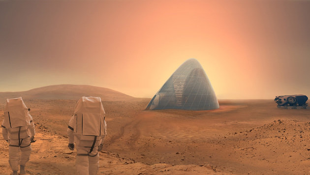 3D-Druckroboter sollen Marsstation aus Eis bauen (Bild: marsicehouse.com)