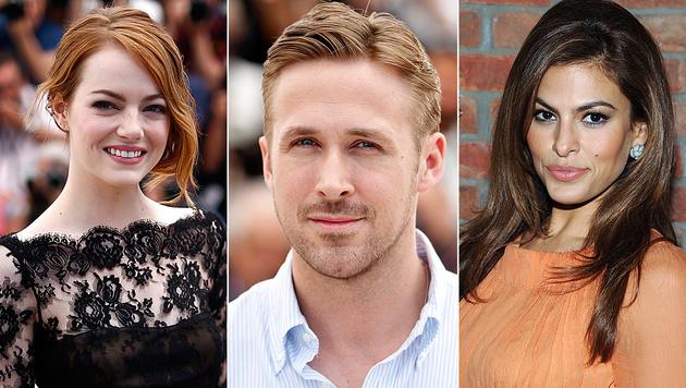 Ryan Gosling soll seine Freundin Eva Mendes mit Emma Stone betrügen. (Bild: APA/EPA/IAN LANGSDON, APA/EPA/GUILLAUME HORCAJUELO, AP)