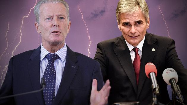 Mitterlehner droht SPÖ mit dem Koalitionsende (Bild: APA/GEORG HOCHMUTH, AP, dpa/Patrick Pleul)