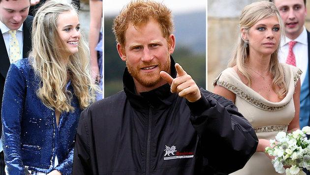 Prinz Harrys Ex-Freundinnen Cressida Bonus (l.) und Chelsy Davy (r.) wollen ihn zurück. (Bild: AP)
