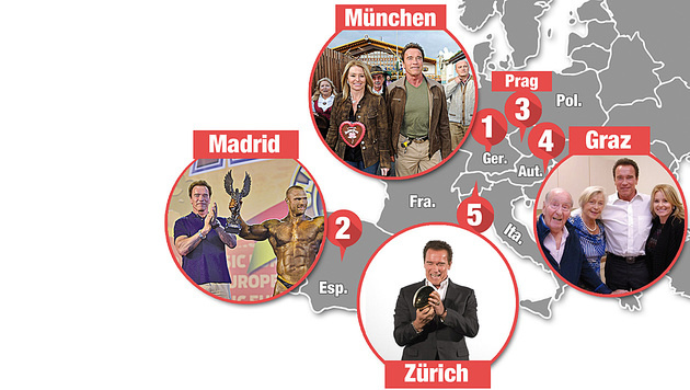 Arnie auf Tour: München, Madrid, Graz und Zürich (Bild: Krone-Grafik, APA, AFP, babirad pictures, Privat)