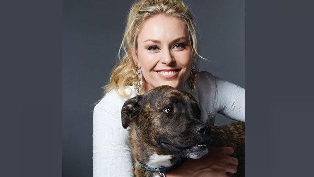 Herzig! US-Ski-Star Lindsey Vonn ist auf den Hund gekommen. (Bild: Facebook.com)
