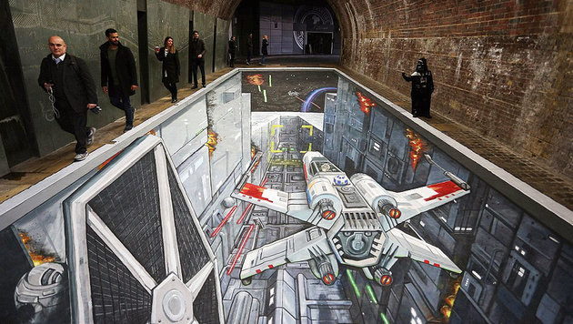 "Mächtige 3D-""Star Wars""-Installation in London (Bild: Mischief PR/PA Wire)"