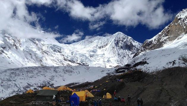 Das Basislager für Besteigungen des Manaslu (Bild: AFP)