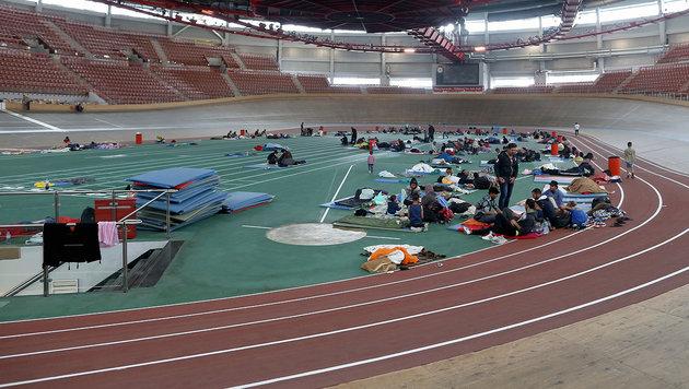 Im Ferry-Dusika-Stadion waren bereits 2015 Hunderte Flüchtlinge untergebracht. (Bild: Gerhard Bartel)