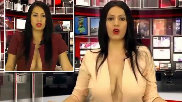 Albanien: TV-Moderatorin lässt zu tief blicken (Bild: YouTube.com/WTF)