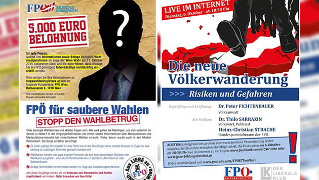 Das Inserat (links) und die Einladung des Bildungsinstituts (rechts) (Bild: FPÖ)