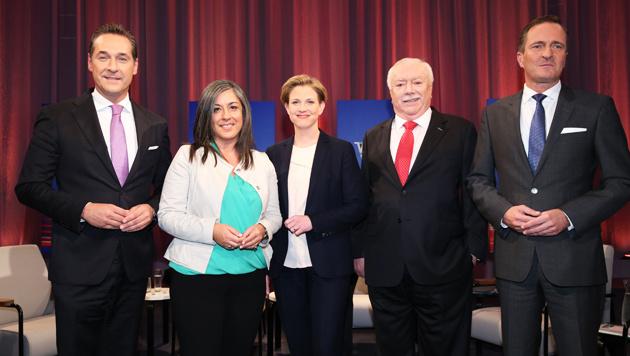 Strache (FPÖ), Vassilakou (Grüne), Meinl-Reisinger (NEOS), Häupl (SPÖ), Juraczka (ÖVP) (Bild: ORF)