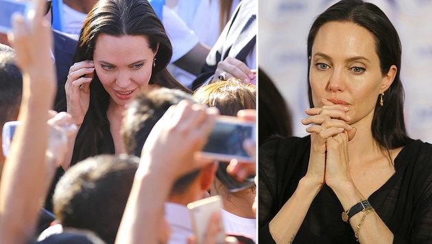 Die Sorgen der Welt lasten auf ihren Schultern: Angelina Jolie in einem Flüchtlingscamp (li.). (Bild: Viennareport)