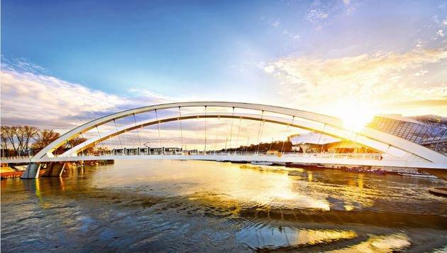 Die futuristische Rhone-Brücke in Lyon. (Bild: Fotolia)