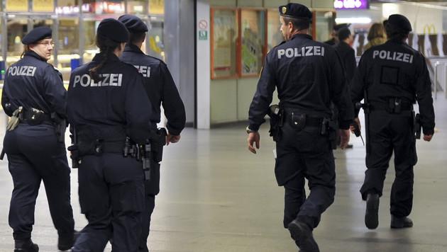 Die Polizei im Einsatz in der Wiener U-Bahn (Bild: APA/HERBERT NEUBAUER)