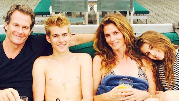 Eine schöne Familie: Rande Gerber, Sohn Presley, Tochter Kayla und Ehefrau Cindy Crawford (Bild: Viennareport)