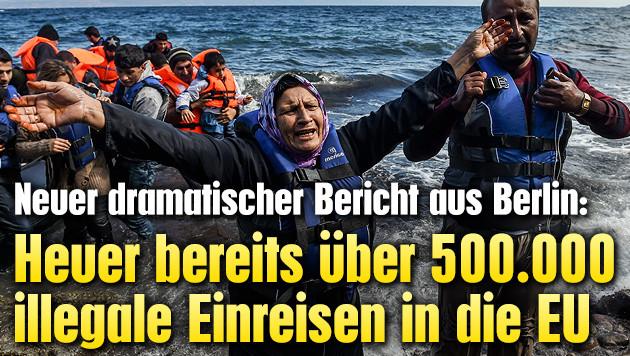 Heuer bereits �ber 500.000 illegale EU-Einreisen (Bild: APA/EPA/FILIP SINGER)