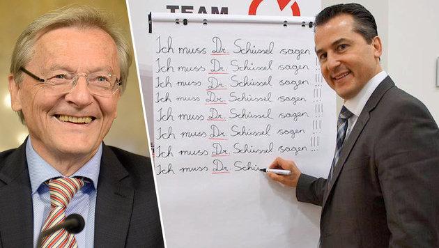 Lugar übt korrekte Anrede von Doktor Schüssel (Bild: APA/ROLAND SCHLAGER, twitter.com/LugarRobert)