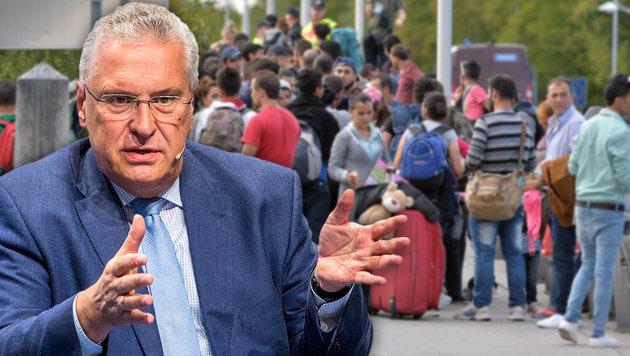 """""""Österreich schickt Migranten einfach weiter"""" (Bild: APA/EPA/MARC MUELLER, APA/BARBARA GINDL)"""