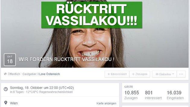 Auf Facebook fordern nach wenigen Stunden bereits Zehntausende Vassilakous Rücktritt. (Bild: Facebook.com)