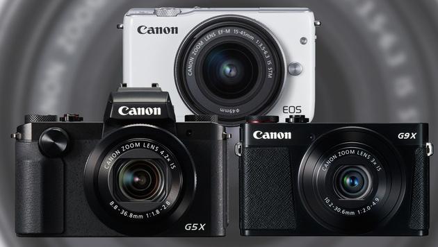 Canon mit neuen Premium-Kompakten und Systemkamera (Bild: Canon, krone.at-Grafik)