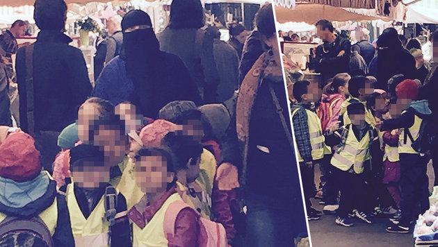 """Wien: Total verschleiert beim Kindergartenausflug (Bild: """"Krone"""")"""