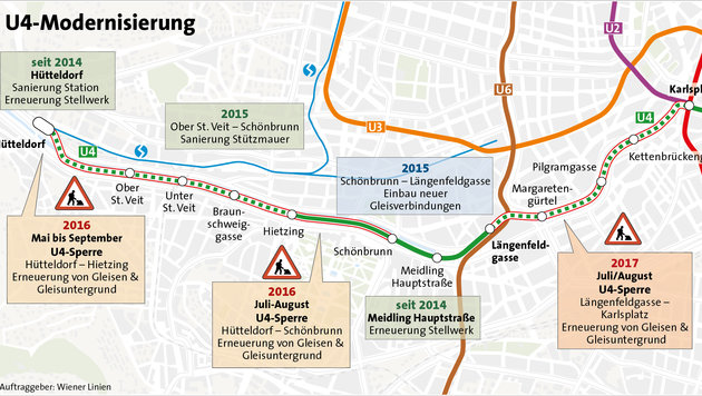 """""""Was ist bloß los mit der U4? (Bild: APA-Grafik/Wiener Linien)"""""""