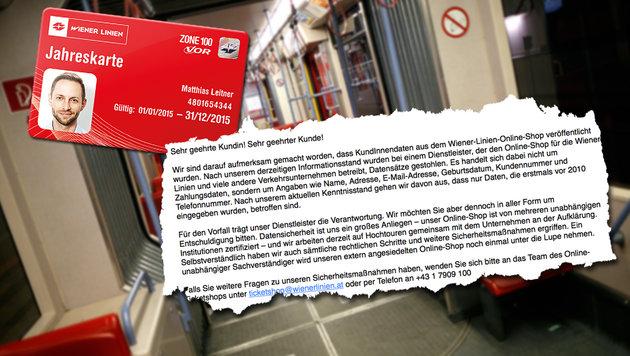 Daten von 20.000 Wiener-Linien-Kunden gestohlen (Bild: Wiener Linien, APA/GEORG HOCHMUTH, twitter.com)