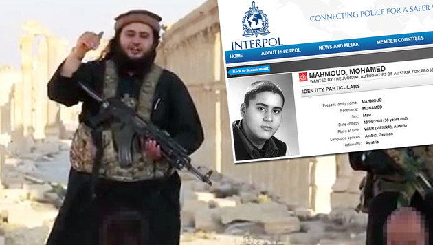 Mohamed M. auf Interpol-Fahndungsliste (Bild: twitter.com, interpol.int)