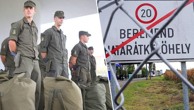 Das Bundesheer verstärkt seine Präsenz im Süden; Stacheldraht trennt nun auch Kroatien und Ungarn (Bild: APA/ERWIN SCHERIAU, APA/AFP/LASZLO LAUFER)