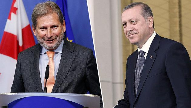 Die Aussagen von EU-Kommissar Hahn werden den t�rkischen Pr�sidenten Erdogan nicht erfreuen. (Bild: APA/EPA/LAURENT DUBRULE, APA/AFP/ADEM ALTAN)