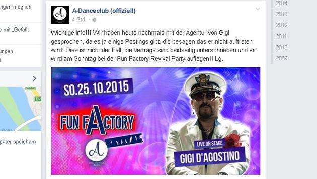 """""""Lässt Gigi D'Agostino die Österreich-Gigs platzen? (Bild: facebook.com/ADanceclub)"""""""