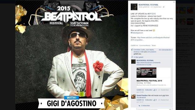 """""""Lässt Gigi D'Agostino die Österreich-Gigs platzen? (Bild: facebook.com/beatpatrolfestival)"""""""