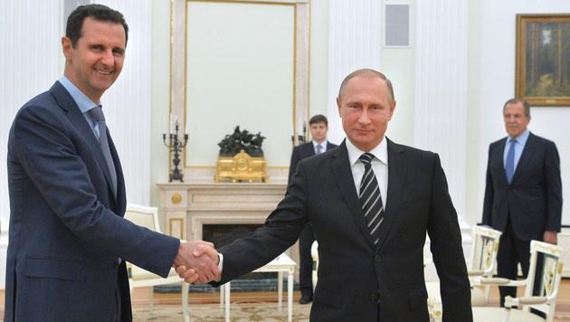 Putin und Assad: Moskau ist einer der letzten verbliebenen engen Partner des Regimes in Damaskus. (Bild: AFP)