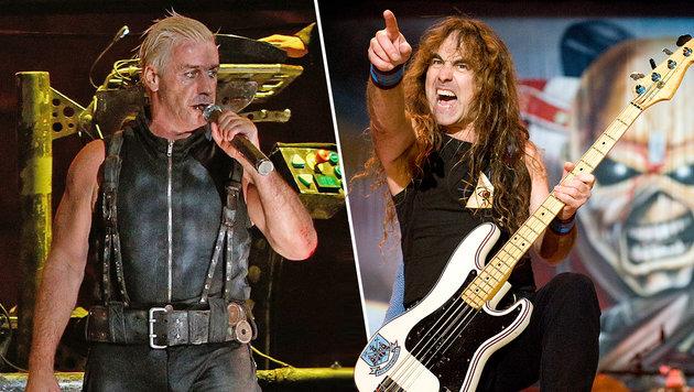 Iron Maiden und Rammstein beim Rock in Vienna (Bild: APA/EPA/Carsten Rehder, JOHN McMURTRIE)