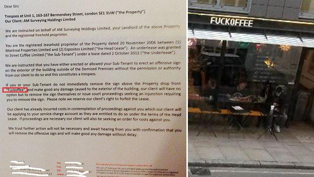 Das beliebte Café in London soll umbenannt werden, sonst droht den Betreibern sogar eine Kündigung. (Bild: twitter.com/Fuckoffee)