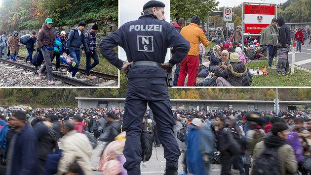 Chaos und Prügelei an unserer Grenze (Bild: APA/EPA/AKOS TERBA, APA/EPA/ERWIN SCHERIAU)