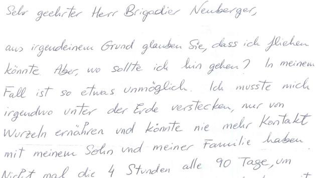 """Nach den Fluchtvorwürfen schrieb Estibaliz C. diesen Brief an den Leiter der Justizanstalt. (Bild: """"Krone"""")"""