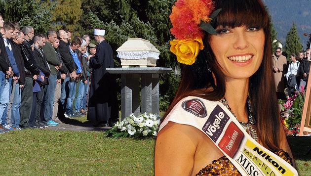 """Hunderte Trauernde erwiesen der Ex-""""Miss-Austria"""" die letzte Ehre. (Bild: zeitungsfoto.at/Liebl Daniel, APA/EPA/HANS PUNZ)"""